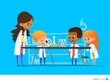 Illustration pour Female teacher demonstrates plant in flask, kids look through magnifier at it during botany lesson. Preschool educational activities and natural sciences education. Vector illustration for website. - image libre de droit