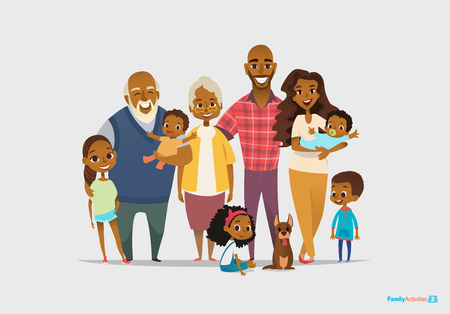 Illustration pour Big happy family portrait. Three generations - grandparents, parents and children of different age together. Smiling cartoon characters. Vector illustration for poster, greeting card, website, ad. - image libre de droit