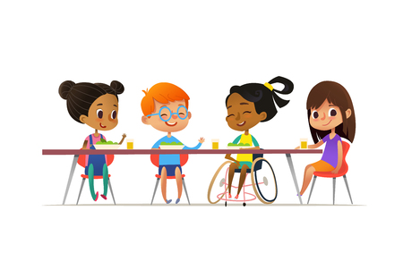 Illustration pour Girl in wheelchair sitting at table in canteen and talking to her friends. Happy multiracial kids - image libre de droit