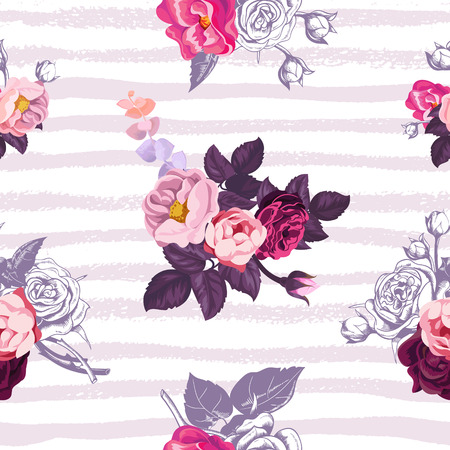 Ilustración de Gorgeous botanical seamless pattern with small half-colored bouquets of wild roses against lilac horizontal paint trails on background. Vector illustration for festive backdrop, textile print. - Imagen libre de derechos