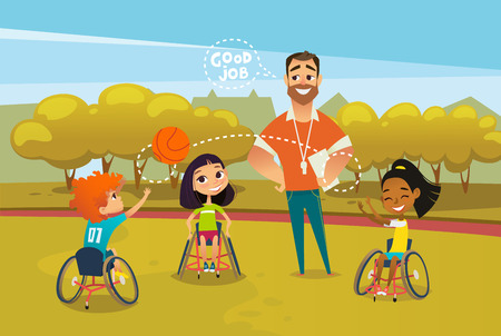 Illustration for Joyful disabled kids in wheelchairs playing with ball and male coach standing near them and supervising. Concept of adaptive sports for children. Vector illustration for advertisement, banner, poster. - Royalty Free Image