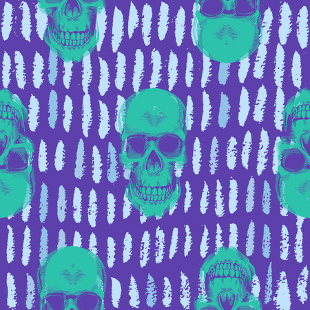 Ilustración de Psychedelic seamless pattern with green human skulls drawn against purple background with short blue paint traces. Vector illustration in pop art style for wallpaper, textile print, wrapping paper. - Imagen libre de derechos