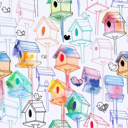 Ilustración de Pattern with colorful birdhouse - Imagen libre de derechos