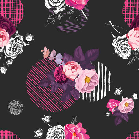 Illustration for Elegant seamless pattern with half-colored bouquets of wild rose flowers and circles of different textures on black background. Vector illustration in vintage style for fabric print, wrapping paper - Royalty Free Image