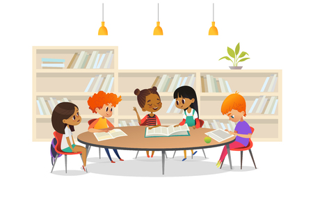 Illustrazione per Group of children sitting around table at school library and listening to girl reading book out loud against bookcase or shelving on background. Cartoon vector illustration for banner, poster. - Immagini Royalty Free