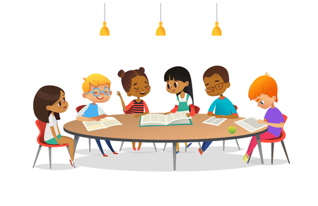 Illustration pour Boys and girls sitting around round table, studying, reading books and discuss them. Kids talking to each other at school library. Cartoon vector illustration for banner, poster, advertisement. - image libre de droit