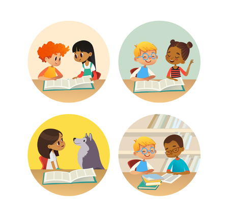 Illustration pour Collection of smiling children reading books and talking to each other at school library. Set of school kids discussing literature in round frames. Cartoon vector illustration for banner, poster. - image libre de droit