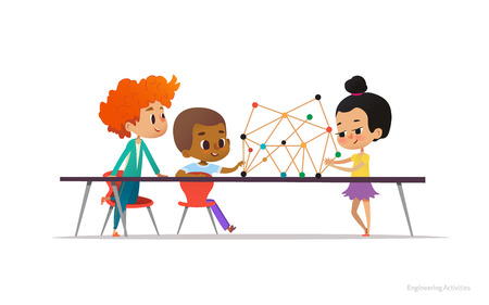 Illustration pour Multiracial boys and girl standing and sitting around table with structural model of molecule on it. Concept of molecular engineering for school children. Vector illustration for banner, poster - image libre de droit