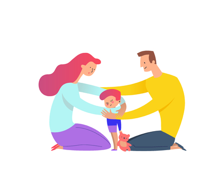 Illustration pour Mother and father cuddling with their son. Concept of family love and support. - image libre de droit
