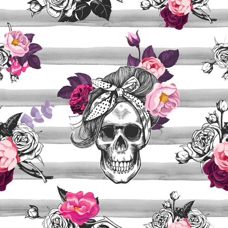 Illustration pour Hipster seamless pattern with skull silhouettes, flowers roses and watercolor stripes at the background. Skull silhouette in engraving. Black and white. - image libre de droit