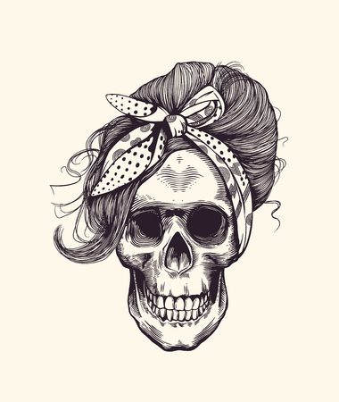 Illustration for Stylish human skull with fashionable  hairstyle and headscarf hand drawn in woodcut style illustration. - Royalty Free Image