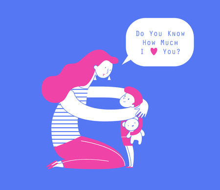 Illustration pour Mom hugging her child with teddy bear, expression of love and care illustration. - image libre de droit