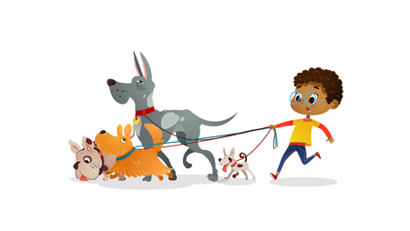 Foto de African-American boy holds a dog-lead and looks after pets. Kid walks dogs on leash along city street against buildings on background. Cartoon character strolls with her domestic animals in downtown - Imagen libre de derechos