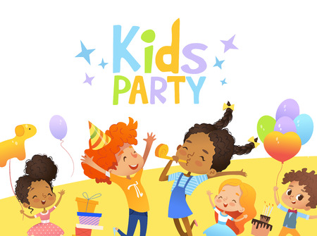Illustration pour Joyous Multiracial kids in birthday hats and balloons happily jump. Cute rabbits, a bunch of presents on the background. Vector Illustration of a Happy Birthday Greeting Card or invitation flyer - image libre de droit