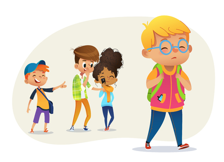 Illustrazione per Sad overweight boy wearing glasses going through school. School boys and gill laughing and pointing at the obese boy. Body shaming, fat shaming. Bulling at school. Vector illustration. - Immagini Royalty Free