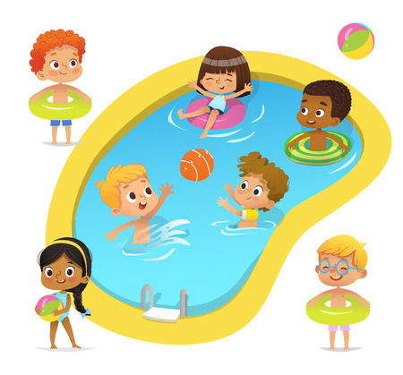 Illustrazione per Pool party characters. Multiracial boys and girls wearing swimming suits and rings have fun in pool. African-American Girl standing with ball. Cartoon characters. Vector isolated - Immagini Royalty Free
