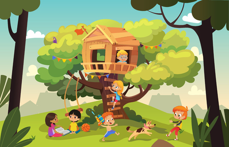 Ilustración de Happy multiracial boys and girls playing and having fun in the treehouse, kids playing with dog, and watering gun, reading book and climb ladder in the neighborhood. Detailed vector Illustration. - Imagen libre de derechos