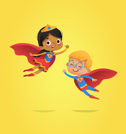 Ilustración de Boy and African American Girl, wearing costumes of superheroes fly. Cartoon vector characters of Kid Superheroes isolated. Can be used for party, invitations, web, mascot - Imagen libre de derechos