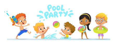 Illustration for Pool party Invitation template baner. Multiracial Children have fun in pool. Redhead boy with a toy water gun jumping in a pool. Children playing with a ball in the water - Royalty Free Image