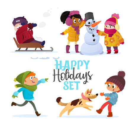 Illustration for Set multiracial kids playing in winter. Girls and boys making snowman, children playing in snowballs, sledding, playing with dog. Outdoor fun on Christmas vacation or holidays. Vector Illustration. - Royalty Free Image
