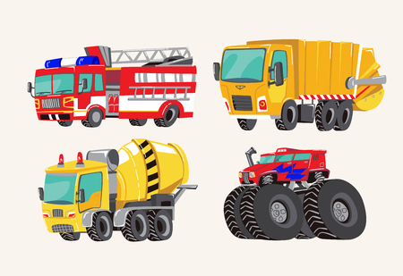Illustration pour Funny cute hand drawn cartoon vehicles. Bright cartoon fire truck, fire engine, garbage truck, concrete mixer truck, and monster truck. Transport child items vector illustration on light background. - image libre de droit