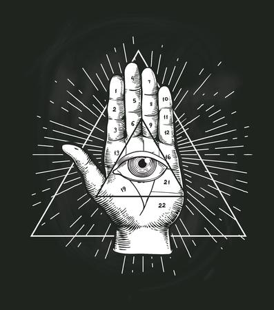 Illustration pour All Seeing Eye Triangle Geometric Vector Design. Providance Pyramid Tattoo Symbol with Occult Secret Hand Sign. Mystic Spiritual Illuminati Emblem Sketch Drawing Illustration - image libre de droit