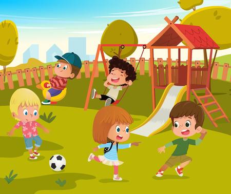 Ilustración de Baby Playground Summer Park Vector Illustration. Children Play Football and Swing Outdoor in School Yard Kindergarten. Little Child Game in Nature. Boy and Girl Cartoon Character Activity Concept - Imagen libre de derechos