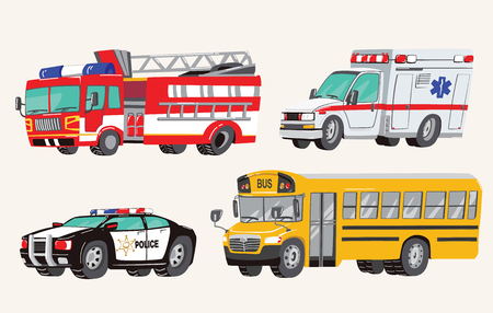 Illustration pour Set of Toy social Vehicles. Special Machines, police car, fire truck, ambulance, school bus, city bus. Toy Cars. Vector Illustration. - image libre de droit