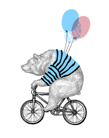 Ilustración de Bear Ride Bicycle Balloon Vector Illustration. Vintage Mascot Cute Grizzly Cycle Bike Isolated on White. Happy Birthday Animal Character Black Sketch. Flat Outline Teddy Grunge Draw. - Imagen libre de derechos