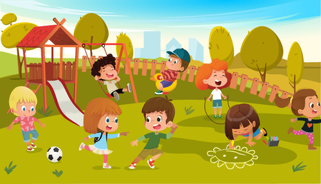 Illustration for Kids Play Park Playground Vector Illustration. Children Swing Outdoor in Summer School Kindergarten. City Landscape Background. Boy and Girl Cartoon Character Activity Equipment. - Royalty Free Image