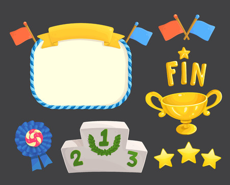 Illustration pour Game rating icons with stars game element, flags, awards, gold cup, inscriptions for game ending and fin, level results icon. - image libre de droit