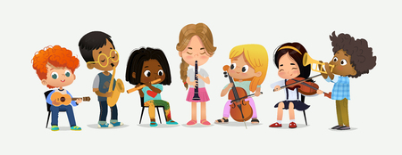 Illustration for School Orchestra Play Various Music Instrument. Children Together in Classroom. Boy with Saxophone. Happy Teenage Performance. Grand Party Education Flat Cartoon Vector Illustration - Royalty Free Image