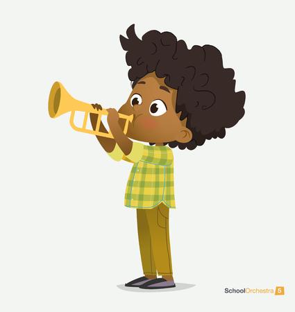 Ilustración de Curly Afro American Boy in Green Shirt Play on Trumpet. Funny Music Star. Kid Cultural Jazz Concert. Teenage Acoustic Entertainment. Fashionable Green Shirt Flat Cartoon Vector Illustration - Imagen libre de derechos