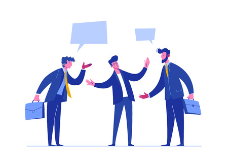 Ilustración de People Discussion Solve Relationship Conflict. Business Risk Time. Person Arguing Different Problem. Team Confrontation Competitor. Concept Stress Resolution Flat Cartoon Vector Illustration - Imagen libre de derechos