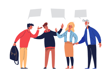Illustration for Meeting Negotiations Discuss Agreement Solution. People Conciliation Concept Perspective Partnership. Active Group with Leadership Agree Teamwork Plan Flat Cartoon Vector Illustration - Royalty Free Image