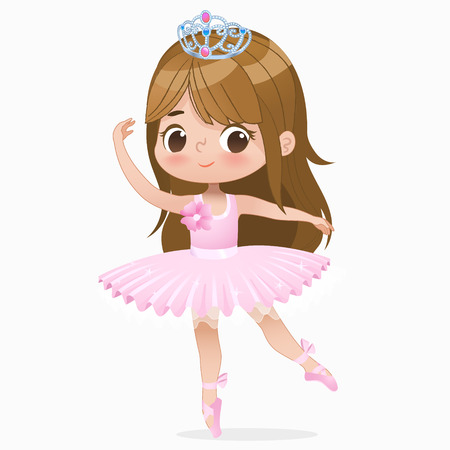 Illustration pour Cute Small Brown Hair Girl Ballerina Dance Isolated. Caucasian Ballet Dancer Baby Princess Character Jump Motion. Elegant Doll wear Pink Tutu Dress. Beautiful Kid Flat Cartoon Vector Illustration. - image libre de droit
