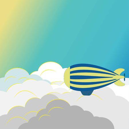 Illustration pour Striped airship over fluffy light clouds - image libre de droit