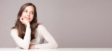 Photo for Expressive portrait of gorgeous young brunette woman. - Royalty Free Image