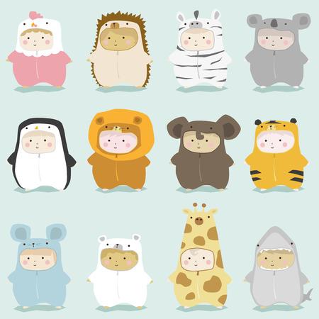 Ilustración de Set of kids in cute animal costumes 2 , vector , illustration - Imagen libre de derechos