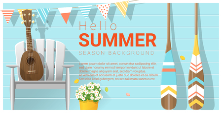Illustration pour Hello summer pattern with ukulele on white chair and canoe paddle , vector , illustration - image libre de droit