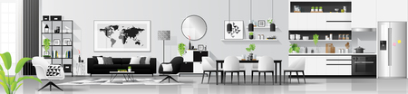Illustration pour Modern black and white interior background with living room , dining room and kitchen combination , vector , illustration - image libre de droit