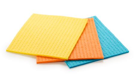 Foto de Set of 3 sponge napkin isolated on a white. Close up, top view. - Imagen libre de derechos