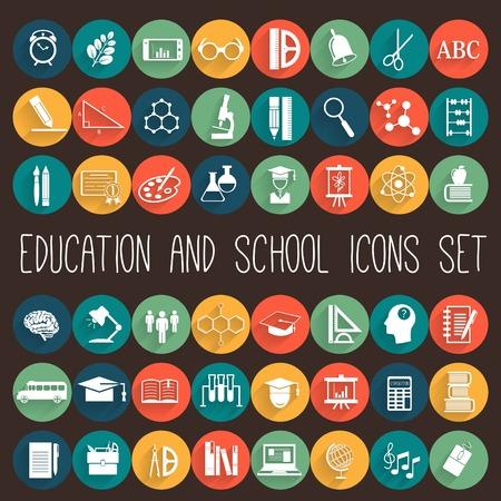 Illustration pour Education School Flat Icon Set. 48 icons - image libre de droit