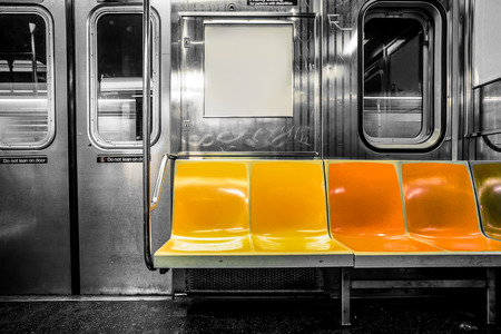 Photo for New York City subway car interior with colorful seats - Royalty Free Image