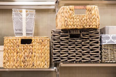 Photo pour Assorted variety of home storage organizing baskets - image libre de droit