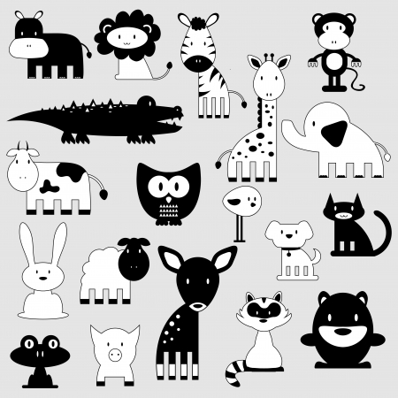 Illustration for Cute cartoon animals set wild and domestic - Royalty Free Image