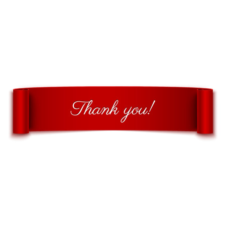 Illustration pour Thank you message on red ribbon banner isolated on white - image libre de droit