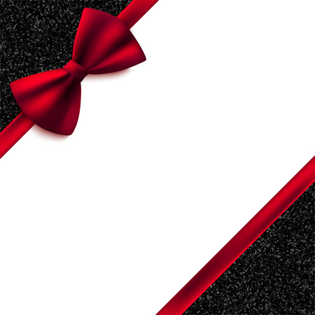 Illustration pour Invitation decorative card template with red bow and shiny glitter - image libre de droit