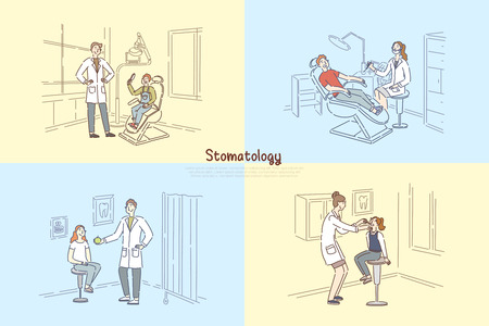 Illustration pour Stomatology clinic, people at dentist office, stomatologist examining patient teeth, child visit pediatrician banner. Orthodontics, doctor appointment concept cartoon sketch. Flat vector illustration - image libre de droit
