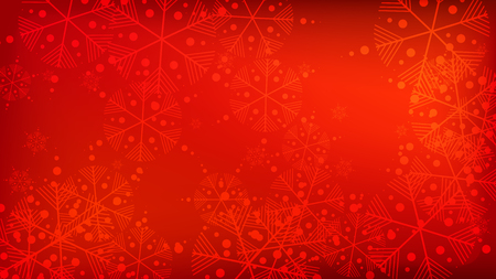 Illustration pour Snowflakes Red Christmas Background. Vector Falling Snowflakes on a Red Background. Element of Design with Snow for a Postcard, Invitation Card, Banner, Flyer. - image libre de droit